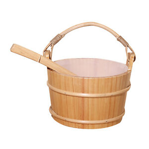 4L Pinewood Wooden Sauna Bucket and Ladle & Liner SPA Accessory Hand-crafted