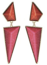 Amrita Singh Womens Gold Coral Fuschia Resin Northampton Earrings ERC 821 NWT