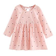 US Toddler Baby Girls Denim Dress Long Sleeve Princess Tutu Dress Cowboy Clothes