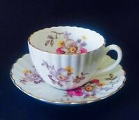 RADFORDS - CUP AND SAUCER - FLUTED BODY - GOLD SCALLOPED RIM -
