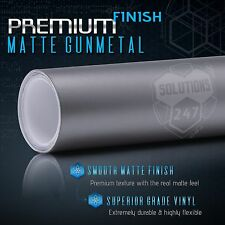 "24"" x 60"" In Matte Flat Gunmetal Vinyl Wrap Sticker Bubble Free Air Release"