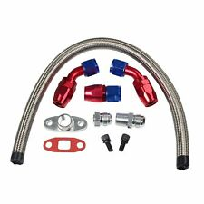 """Stainless Braided Turbo Charger 17"""" Oil Feed Return Drain Line+10AN Fitting Kit"""