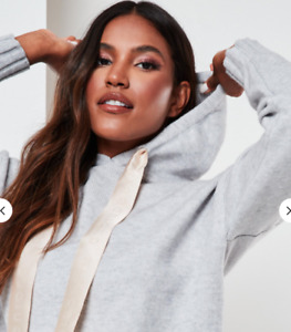 Missguided Plus Size Co-ord Boxy Grey Hoodie KNITTED,  Size 16-24 RRP£28