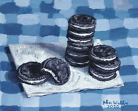 Original Still Life Painting of Oreo Cookies - (8 x 10 inch) by John Wallie