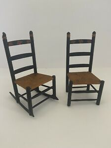 Vintage Pair Hand painted Miniature Chairs Rocker and Desk Chair