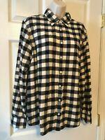 Women's Blouse Lands' End Black, White, Plaid, Button-up Shirt - XL