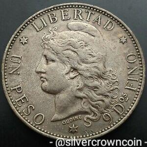 SCC Argentine Un Peso 1882. KM#29. .900 Silver One Dollar Crown. NGC AU58.