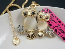 Betsey Johnson shiny Rhinestone Opal owl pendant Necklace # F193