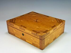 Antique Sailors Wood Inlaid Valuables Document Box with Stars