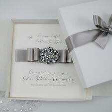 Luxury Silver 25th Wedding Anniversary Personalised Handmade Boxed Card