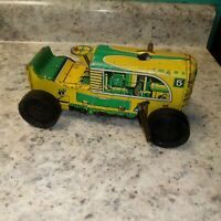 Marx Toys Vintage Lithograph Climbing Wind Up Tin Tractor Yellow Green Toy NICE
