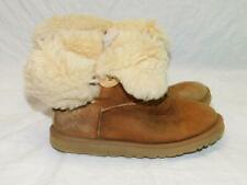 UGG Size 7 Brown Bailey Button Boots Shearling Sheepskin Suede Leather EU 38