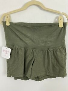 NEW Ingrid & Isabel Women's Maternity Twill Pull-On Shorts Size XS Green Linen