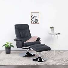 vidaXL Recliner Chair with Footstool Black Faux Leather Lounge Seat Armchair