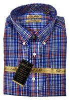 Gold Label Men's Dress Shirt Size 2XB Big &Tall Blue Plaid Roundtree & Yorke New