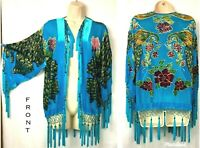 Kimono Opera Jacket Beaded Fringe  Burnout Velvet Peacock & Rose Turquoise  WOW