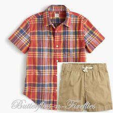NWT J.CREW 2pc CREWCUTS Outfit Set Plaid Dress Shirt & Chino Dock Shorts Boys 8