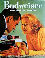 Vintage 1960 Budweiser beer retro couple advertisement print ad