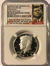 "2014 S Silver Proof Kennedy Half Dollar NGC SP70 PL Enhanced Finish ""50th"""