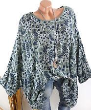 Damen Tunika Oversize Lagenlook Bluse Shirt Punkte Leinen Optik oliv 44 46 48