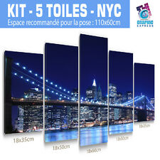 110x60 cm-Kit 5 TOILES IMPRIMEE-TABLEAU MODERNE DECORATION MURALE - NEW YORK-04w