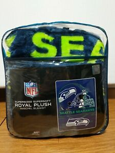 "SEATTLE SEAHAWKS Supersized Royal Plush RASCHEL BLANKET 60"" X 80"" New in Bag NFL"