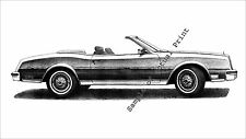 1982/1983/1984/1985 Buick Riviera Convertible 11 x 17 drawing/picture/print