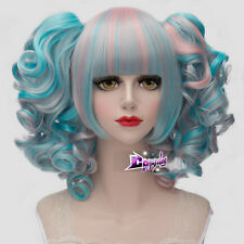 "12"" Short Blue Mixed Pink Women Lolita Cosplay Wig Heat Resistant + 2 Ponytails"