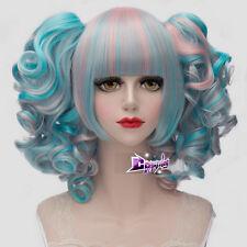"12"" Short Blue Mixed Pink Women Lolita Cosplay Wig Heat Resistant + 2 Ponytails"