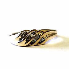 10k yellow gold .13ct SI2 H womens baguette diamond wedding band ring 3.1g