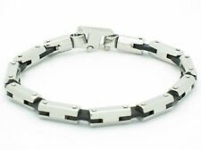 PLATINUM STEEL BLACK RUBBER LINK DESIGN BRACELET NIB