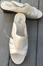 New Moda by Propet Ivory Leather Slides Sandals Black Wedge sz 12 M