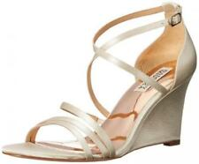 $185 size 8 Badgley Mischka Bonanza Ivory Wedge Strappy Sandals Women Shoes NEW