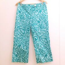 ANN TAYLOR Womens Size 4 Casual Dress Pants Slacks Career Floral Capri Blue C5