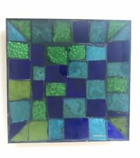 Georges Briard Signed Blue & Green Mosaic Glass Tiled Dish w/ Gold Colored Back