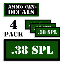 38 SPL Ammo Can Stickers 4x .38 Special Ammunition Gun Case Label Decal 4pack GR