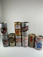 Lot Of 9 Vintage Pull Tab Beer Cans Pabst Michelob Griesedieck Bros Wiedmann