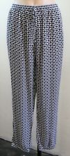 Size L 14 Black Pants Casual Boho Chic Loose Relax Resort Weekend Print Design
