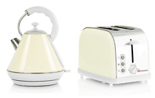1.8L Electric Cordless Kettle & 900W 2 Slice Toaster Set Pyramid style Cream