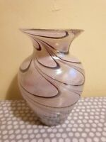 Vintage Glass Vase With Pale Green And Brown Swirl Design