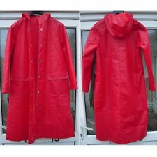 Vintage Red Rukka Quilted Raincoat Trench Mac Coat 34 PVC Cotton Finland Retro