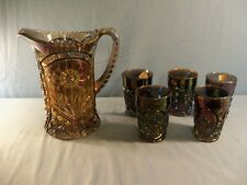 Imperial Peacock Carnival Glass MAYFLOWER Water Set - Pitcher & 5 Tumblers