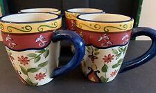 """4 Pier 1 Vallarta Mugs 4 1/2"""" Preowned Coffee Tea"""