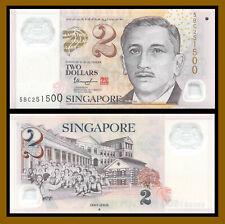 Singapore 2 Dollars, 2005 (2016) P-46f One Diamond Polymer Banknote Unc