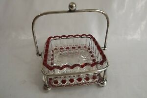 silver plated butter dish glass