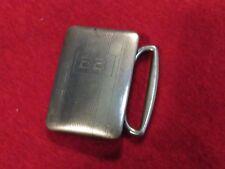 Vintage Sterling Ribbed & Solid Monogrammed Belt Buckle, Stamped