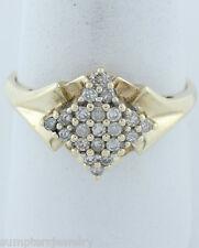 Mujer 10 Quilates Amarillo Oro 1/3 21 Diamante Redondo Cóctel CLUSTER Filigrana