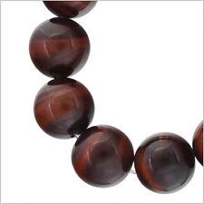 "13 Red Tiger's Eye Round Beads 14mm 7"" #81046"
