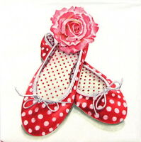 4x Single Table Party Paper Napkins for Decoupage Decopatch Craft Alice's Shoes