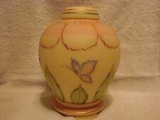 "FENTON ART GLASS BURMESE GINGER JAR- 8"""